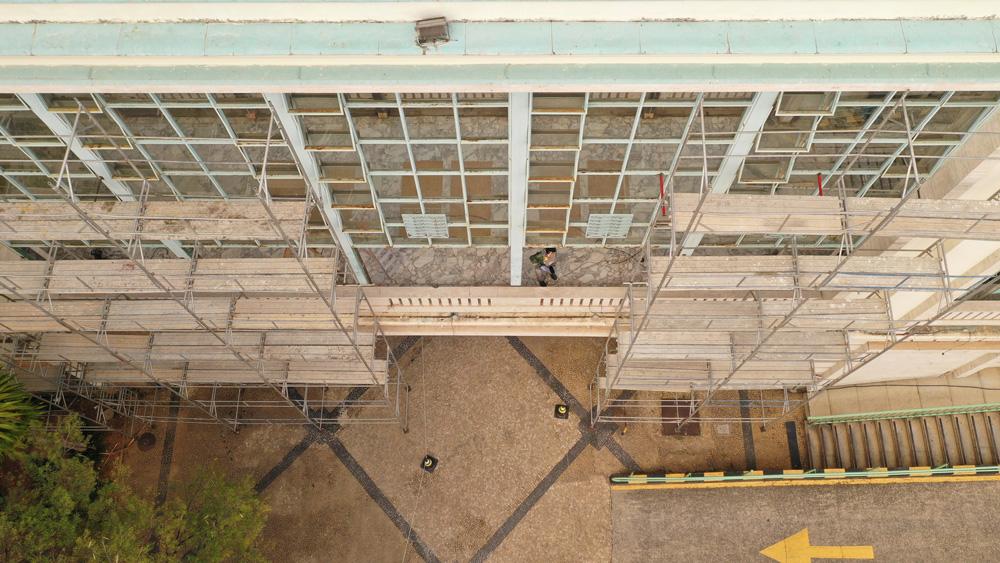 4. Andaimes montados - vista superior